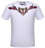 Wholesale Summer Fashion Cat Print Cotton - 2017 New spring & summer men's t-shirts Leopard Angry Cat Print cotton short sleeve Floral tee tops brand clothing casual T shirt