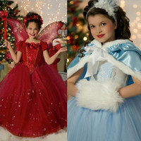 Wholesale Kids Red Tutu Skirts - Wholesale girls cosplay dress baby girl frozen dress up kids halloween christmas tutu skirt with cape fancy costumes for kids children gown