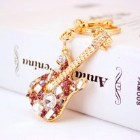Wholesale Crystal Guitar Keyrings - Wholesale Luxury Keyrings For Girl Fashion Creative Guitar Pendant Key Rings Full Diamond Key Chain High Quality Accessories Gifts