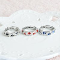 Wholesale nails jewelry - Crystal Rings When I Am with My Pet Letter Black Red Enamel Dog paw footprints Finger Ring Nail Ring for Women Jewelry Drop Ship 080157