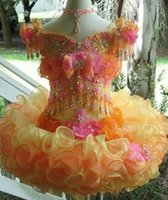 Wholesale Kids Cupcake Skirt - 2017 Little Pageant Girls Dresses Cupcake Off the Shoulder Beaded Crystal Glitz Organza Ruffles Tutu Skirt Formal Kids Birthday Party Gowns