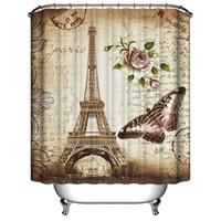 tour salle de bain achat en gros de-Vente en gros - nouveau Tour Eiffel papillon fleur cachet de douche rideau de bain étanche tissu anti-moisissure polyester 12 crochets 71 pouces