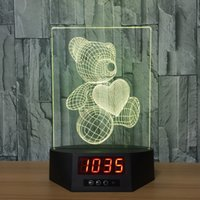 3D Bear Heart Illusion Lamp Night Light Clock DC 5V USB Powered AA Battery Atacado Dropshipping Frete Grátis Caixa de varejo