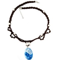 Wholesale Necklace Opp Bag - New Moana Princess Necklace Charm Crystal Choker Pendant Necklace With Pearl Cosplay Party Gifts Movie Jewelry Opp bag Pack