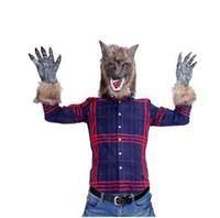 traje de garras de animal al por mayor-Ropa de Halloween Máscara de lobo Garras Cosplay Disfraces de miedo para adultos Fiesta de Halloween Animal Máscara de cara completa Juguetes para niños