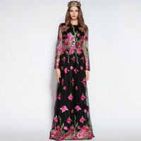 Wholesale Dress Maxi Runway - High Quality 2017 Autumn Women's O Neck Long Sleeves Embroidery Prom Designer Floral Runway Maxi Dresses