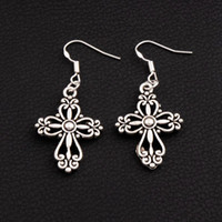 Wholesale Filigree Chandelier Earrings - Filigree Heart Cross Earrings 925 Silver Fish Ear Hook 30pairs lot Antique Silver Dangle Chandelier E425 20.5x45.3mm