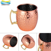 Wholesale Drum Handles - 530ml Food Grade Stainless Steel Moscow Mule Mug Drum Copper Plated Beer Cup with Solid Brass Handle Coffee Cup Water Glass Drinkware