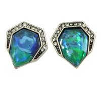 Wholesale Color Stone Earrings - Ethnic Jewelry Women Brand Earrings Antique Silver Color Big Green Blue Stone Geometric Stud Earrings Party