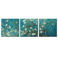 hazır hang wall painting toptan satış-3 Parça Tuval Boyama Kayısı Çiçek Duvar Sanatı Van Gogh Ahşap Çerçeveli Boyama Çalışır Ev Dekorasyon Hediyeler Için Asmak Için Hazır