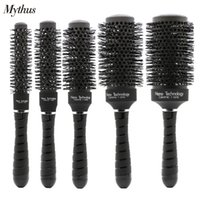 Wholesale Hair Styling Rolls - Variable Color Roll Comb Black Ceramic Aluminum Barrel Brush Round Rolling Hair Brush Set For Professional Salon Styling Curling