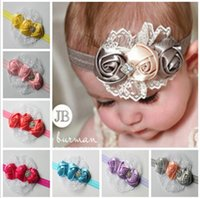 Wholesale 1C C Multicolor Baby Flower Hair Accessories Baby Flower Lace Hairbands Kids Headdress Children Rose Flower Hairbands S0708