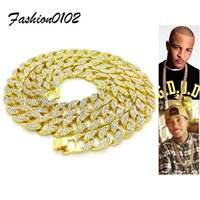 Iced Out Miami Cuban Link Chain Gold Finish Bling Rhinestone Crystal Mens Hip hop Necklace 30 Inche Rapper Rock Jewelry