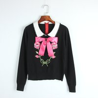 Wholesale Embroidery Wool Beads - 2017 Autumn New Black Sequins Beads Bow Embroidery Knitted High Quality Lapel Neck Long Sleeves Women's Sweater Women's Pullovers 0727-8