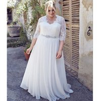 Wholesale Long Lace Quarter Sleeve Dress - Plus Size Wedding Dresses Chiffon Three Quarter Sleeve Beads A Line Sweep Train Lace Crystal Sash Bridal Gowns Charming See Through Elegant