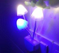 Wholesale Small Plugging Lamp - Mushroom Night Light colorful small night light led light night lamp plug energy saving wall lamp bedroom bedside lighting gadget