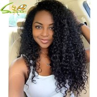 Wholesale brazillian curly lace front resale online - Glueless full lace wigs lace front wig cheap Brazillian deep curly human curly hair weave full lace human hair wigs