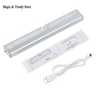Wholesale Usb Infrared Sensor - Wholesale- 10 LED IR Infrared Motion Detector Wireless Sensor Lighting Closet Night USB Battery Recharging Lamp Cabinet Wardrobe Light