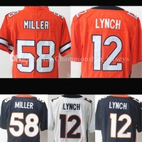 Wholesale Sleeve Embroidery - Stitched men's 12 # Paxton Lynch jersey 58 Von Miller Embroidery Top quality Short sleeve fast Free Shipping