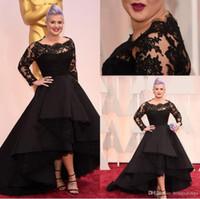 Wholesale Celebrity Tulle Oscar Dresses - 87th Oscar Awards Kelly Osbourne Black Long lace sleeves Celebrity formal Evening Dresses Hi-lo A line short party Special OccasionPlus size