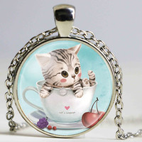 Wholesale Love Language Crystal - Trendy Round Pendant Cute Cat In Coffee Cup Cat's Language Heart Necklace For Women Hot Sale High Quantity Necklace