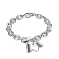 Wholesale Hot Sale Dog Charms - Hot Sale Jewelry 925 Silver Plated Bracelets & Bangles Dog Pendant Charm Bracelet For Women Men Free Shipping