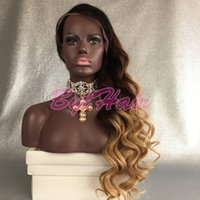 Bythair Ombre Color Cabelo de cabelo humano brasileiro Peruca 3 Tone Colors Glueless Full Lace Wigs Long Curly Lace Front Wigs For Black Women