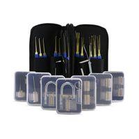 Wholesale Handle Locks - New Arrival Free Shipping 24pcs Locksmith Tools lock pick set with Blue Handle + 5pcs transparent practice locks