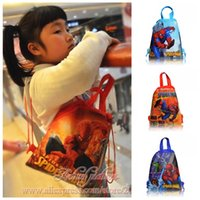 Wholesale Spider Backpack - Min Order=10PCS Spider man Children Cartoon Drawstring Backpacks School Bags 34*27CM Kids Birthday Gift Party Bags Free Shipping
