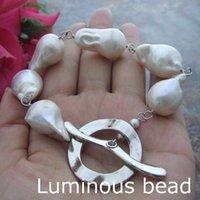 "Wholesale Black Cultured Pearl Bracelet - FC070114 15x21MM White Keshi Freshwater Cultured Pearl Bracelet AB031514 8"" 25MM Grey Keshi Pearl Bracelet"