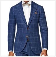 Wholesale tuxedo suits tailored - Men'S Wardrobe Essentials Slim Fit Windowpane Suit Tailor Made Navy Blue Windowpane Check Suits For Men,Elegant Business Suit