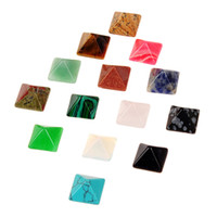 Wholesale Turquoise Cabs Wholesale - 10pcs Mixed Fine Carvings Natural Stone Square Pyramid CAB Cabochons Opal Rose Quartz Tiger Eye Turquoise Obsidian Gemstone Beads 12*12mm