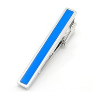 Blue Rectangle Tie Clip Mens Shirt Accessories China Factory Wholesale with Free Black Bag для подарочного подарка AG1865