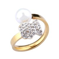 Wholesale Good Pearl Ring - New Arrival 2017 Anillo Stainless Steel Women Spanish Brand Silver Gold pearl Rings Size 6.7.8.9 good quality Jewelry no fade