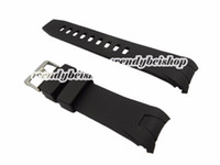 Wholesale Silicone Bracelet Watch For Ladies - Wholesale-20mm(20mm Buckle)Hot Sell New Men Lady Black Silicone Rubber Curved End Watch Strap for omewatchband Silver Brushed Pin Buckle