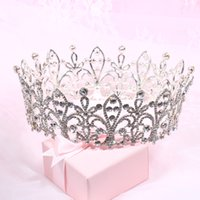 Wholesale Semi Precious Crystals Stones - Luxurious Junoesque Sparkle Pageant Crowns Rhinestones Wedding Bridal Crowns Bridal Jewelry Tiaras & Hair Accessories shiny bridal tiaras