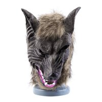 Wholesale Latex Dressing - Wholesale-Adults and Children Latex Animal Wolf Head With Hair Mask Fancy Dress Costume Party Scary Halloween cute Worldwide sale