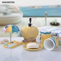 Wholesale sea shell bathroom - 5Pcs  Set Bathroom Accessories Set Children Sea Beach Shell Style Bathroom Products Sets Cartoon Resin Toothbrush Cup Soap Dish