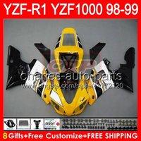 1999 yamaha r1 carenados amarillo al por mayor-8gifts Cuerpo para YAMAHA YZFR1 98 99 YZF1000 YZF-R1 98-99 amarillo brillante 90NO33 YZF 1000 YZF-1000 YZF R 1 YZF R1 1998 1999 amarillo negro Carenado