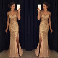 Wholesale Luxurious Blue Dress For Prom - Mermaid Dresses For Prom Gold Beaded Crystals Straps 2017 Split Side Long Evening Party Gowns Sexy Luxurious Robes De Soiree Longues