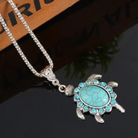 Wholesale Turquoise Turtle Jewelry - Wholesale-1PC Women Turquoise Rhinestone Turtle Pendant Necklace Green Crystal Necklace For Women Jewelry