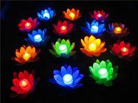 velas flutuantes artificiais venda por atacado-Artificial LEVOU Flutuante Flor de Lótus Lâmpada de Vela Com Luzes Traseiras Coloridas Para Festa de Casamento Decorações Suprimentos