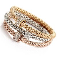 Wholesale Per Jewelry Chain - New Gold Tone Luxury Crystal Charms Bracelet& Bangle Punk Jewelry 3Pcs Per Sets For Women Men Girls Gifts Mix Designs Hz