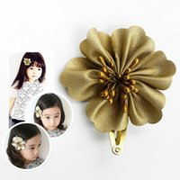 Wholesale Pretty Flower Clips - Wholesale Gold Flower BB Hair Clips Trendy Headdress Classic Hairpins New Designed Pretty Baby Girl Floral Barrettes Head Wear