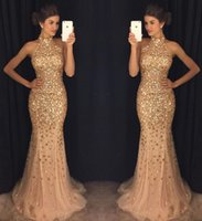 Wholesale Nude Sparkly Dresses - Luxurious Mermaid 2017 Arabic Evening Dresses High Neck Beaded Crystals Tulle Prom Dresses Sparkly Sexy Formal Party Gowns