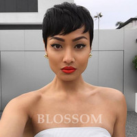 Wholesale front hair cut indian style online - Rihanna Bob Hair Style wigs Short Human Cut hair Lace Front Wig For Black Women Human Short Hair Wigs for African Americans