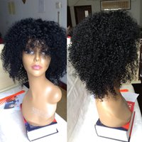 Wholesale Curly Lace Wigs Bangs - Kinky Curly Full Lace Wig Unprocessed Human Hair Lace Front Wigs With Bangs Brazilian Kinky Afro Wigs Black Women With Baby Hair