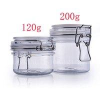 Wholesale Sealed Jars - 120g 200g Empty Round Plastic Sealed Tin Containers Clip Lids ,Food Jar Pot Containers Storage,Mask Cream Container Bottle