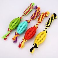 Wholesale Toy Ball For Dogs Cotton - Pet Chew Toys High Quality Rubber Rugby and Cotton Rope for Dog Puppies Molar Clean Teeth Ball WA1860