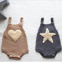 Wholesale 3t christmas sweater - INS new arrivals fall baby kids climbing romper 100% cotton heart star design sweater romper girl boy kids romper kids autumn rompers 0-3T